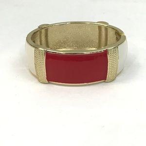 Jewelry - Red, White, Enamel, Gold Hinged Bangle Bracelet